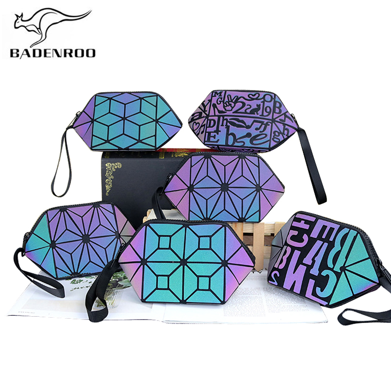 Badenroo 2019 New Luminous Brand Geometric Cosmetic Bag Clutch Folding Hobos Storage Bag Shell Wash Bag Makeup Case Toiletry Bag
