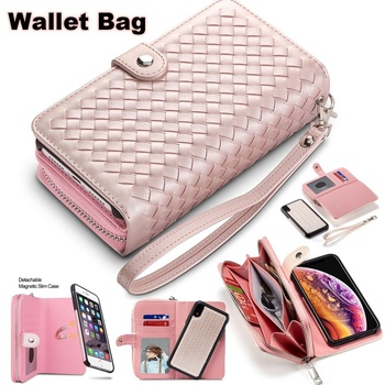 Luxury Zipper Wallet Card Holder Slot Detachable Pocket Protective Hard Shell Magnetic Folio PU Leather Flip Case for iPhone