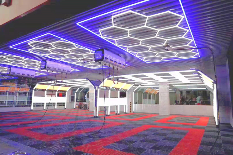 Customized Hexagonal LED Light For Car Wash Beauty Shop Dust-free Film Plating Workshop