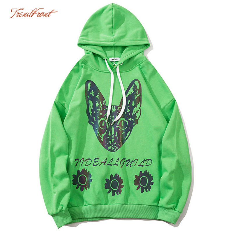 TF Autumn Winter Origional Popular Brand Men's Laser Reflective Cat Printing Loose All-match Student Couple Hoodie Sweater Coat 1