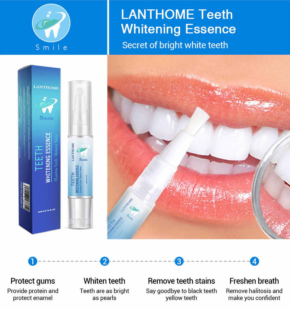 LANBENA 4ml Dental Lab Gel Teeth Whitening Pen with Teeth Whitening Strips Easy To Use Tooth Bleaching Whiter Dentist Gift TSLM2