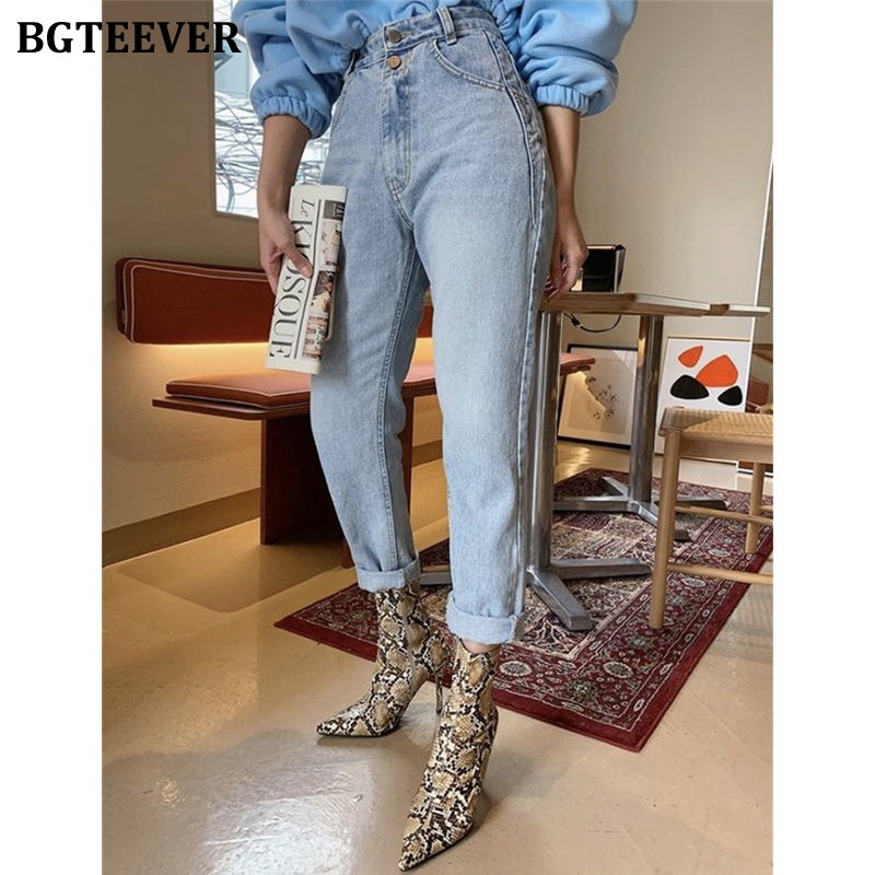 BGTEEVER Vintage Double Button Women Jeans High Waist Denim Pants 2020 Spring Summer Harem Jeans Trousers Female Streetwear