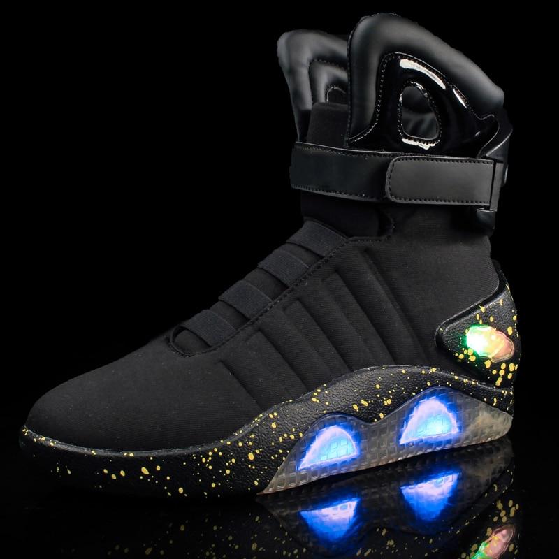 Adultos Sapatos Para Os Homens de Carregamento USB Led Luminoso Luz Moda Up Casual Homens Tênis Brilhantes de volta para o Futuro frete grátis - 2