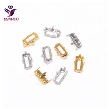 YANRUO Rectangle Claw Setting Copper Stones Base Silver Gold Sewing With Crystal Rhinstones Garment DIY Metal