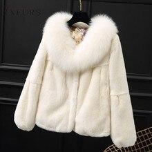 2019 Women Real Rex Rabbit Fur Jackets with Fox Fur Collar 100% Genuine Fur Coat Winter Warm Outwear Causal Short Fur Overcoat
