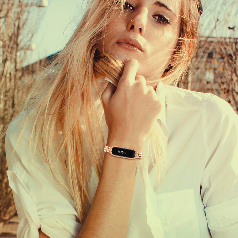 Pulseira de Aço Inoxidável para Xiao Pulseira de Relógio de Metal de Cristal Inteligente para mi Correias de Relógio Banda Pulseira Correia – mi 3 4