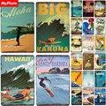 Металлический знак для пляжа, Жестяная Табличка для серфинга, Настенный декор для бара, паба, мужской пещеры, Гаваи/Кахуна/Санта-Барбары, пос...