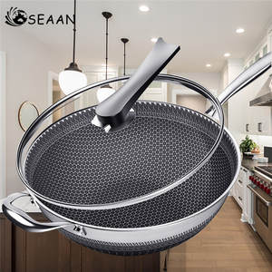 Frying Pan Wok Phosphorus Oil-Smoke Honeycomb Double-Sided 304-Stainless-Steel Without