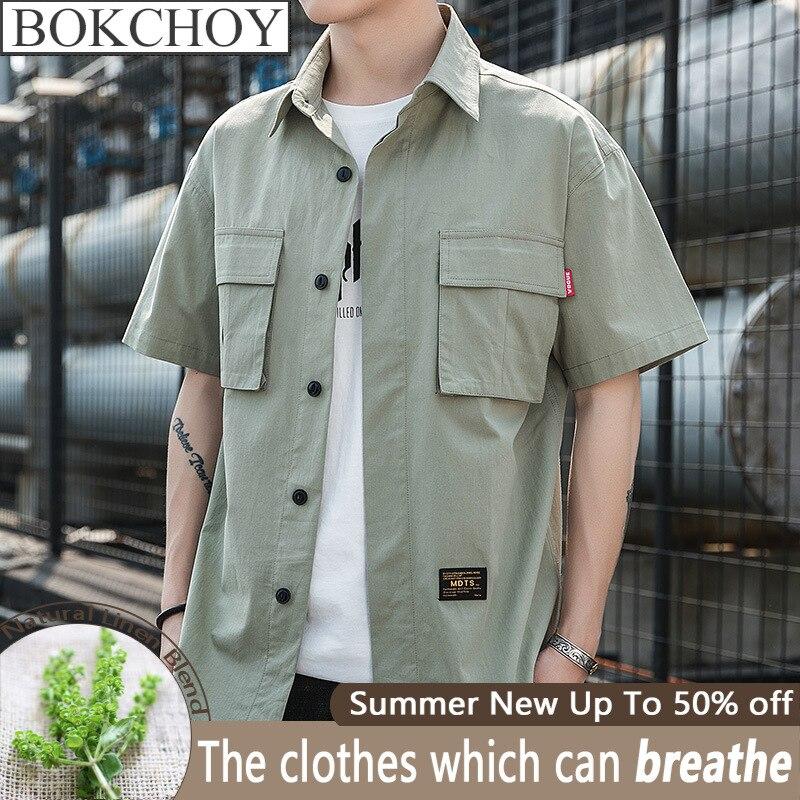Vintage Men Shirt Safari Style Casual Shirts Short Sleeve Cotton Thin 2020 Spring New Arrive