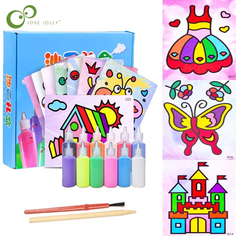24 шт./компл. Набор детских игрушек для рисования песком, бумага для рисования песком с бутылкой с цветами, детские игрушки для рисования, детский сад, художественное ремесло ZXH|Юный художник|   | АлиЭкспресс
