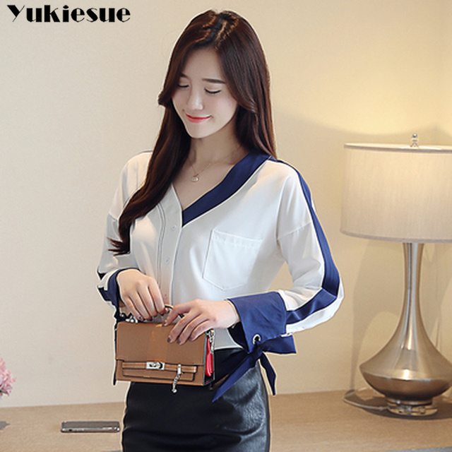 womens tops and blouses solid white chiffon blouse office shirt blusas mujer de moda 2020 long sleeve women shirts clothes 3
