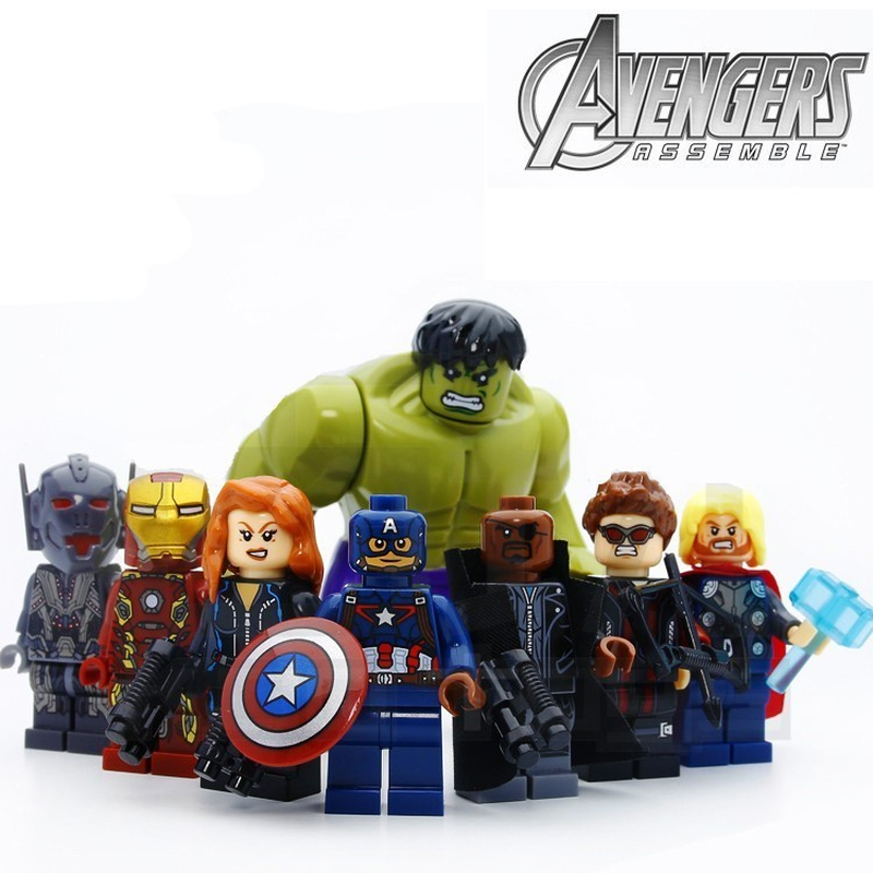 8pcs/lot Figures The Avengers Hulk Thor Captain Iron-man Black Widow Building Blocks Kit Toys Kids Gifts Compatible Legoinglys