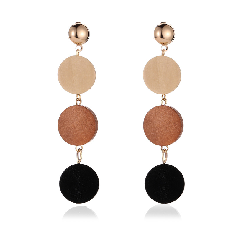 2020 New Fashion Women Drop Earrings Wood Round Hit Color Simple Earrings Gold Color Long Dangle Earrings For Party Club Jewelry