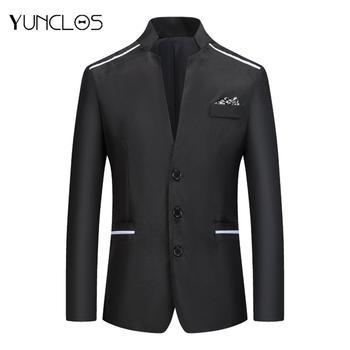 Yunclos Mens Slim Fit Blazer Masculino Suit Office Jacket Black Blue Plus Size Male Blazers Coat  Classic