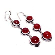 Carnelian Silver Overlay on Copper Earrings, 86 mm , E4328(China)