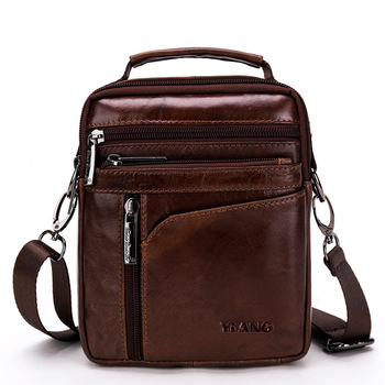 Mens Shoulder bag Leather Material British Retro Casual Fashion Style High Quality Multi-function Large Capacity Design