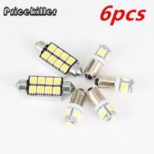 BA9S 6 pcs interior luz ponta Dupla decodificação 5050 8smd luzes smd LEVOU conjunto da lâmpada Para AUDI S3 8L A3 8P A4 B6 B7 A6 C6 4F C5 Q7 A8