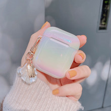 3D Love Pearl shell portachiavi goccia d'acqua arcobaleno custodia rigida per cuffie per apple airpods 1 2 3 pro cover per cuffie Wireless(China)