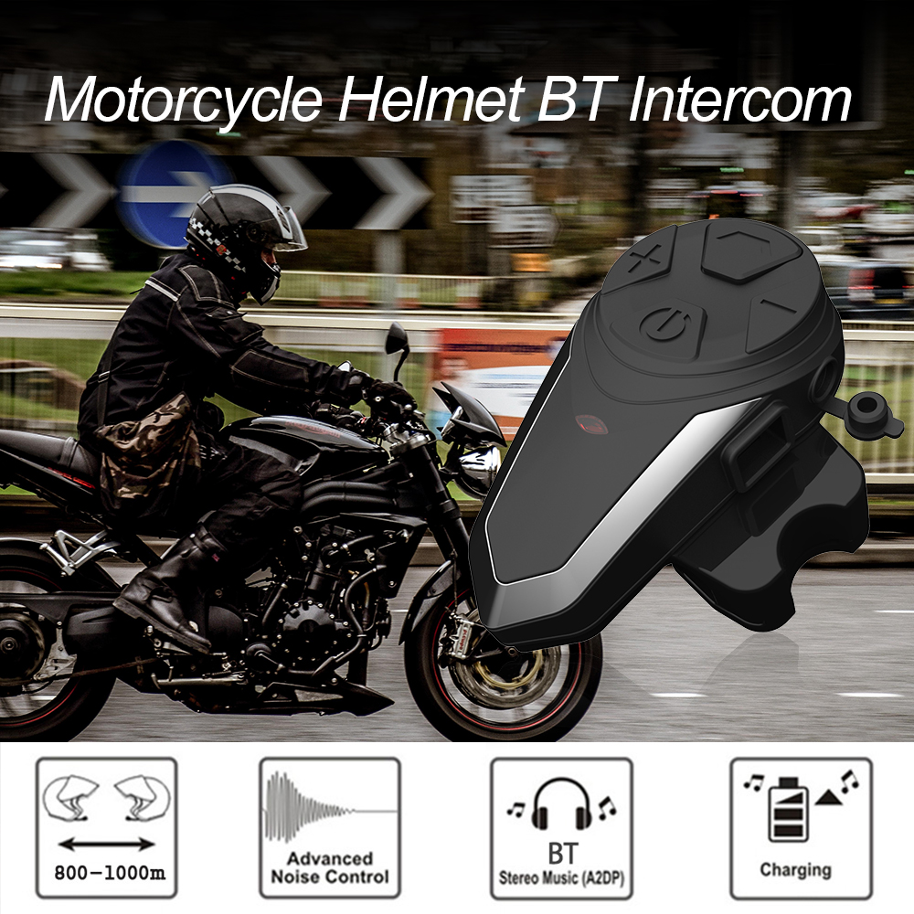 Bluetooth Motorcycle Helmet Intercom FM Radio MP3 GPS Walkie-Talkie Waterproof Ski Intercom 800-1000m