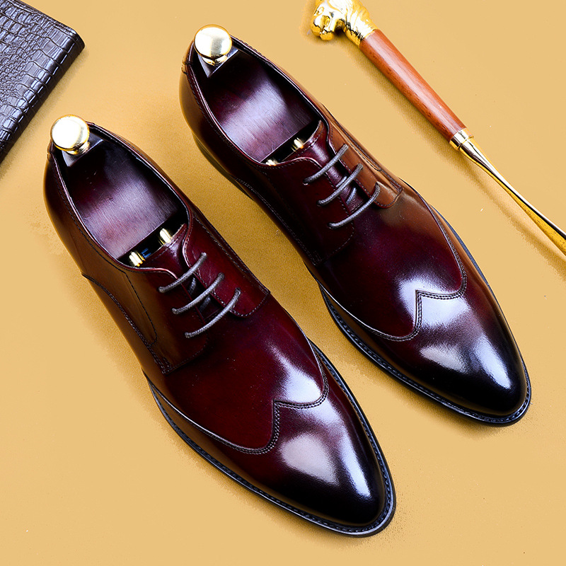 Men Oxford Dress Shoes Formal Business Lace-up Full Grain Leather Minimalist Shoes for Men