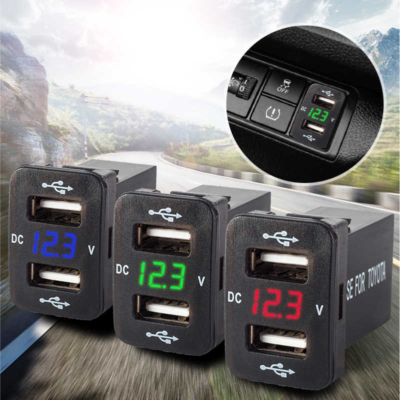12V 24V Auto Dual Usb Charger Quick Lading 4.2A Auto Adapter Sockets Voltage Display Voor Toyota Corolla Hilux