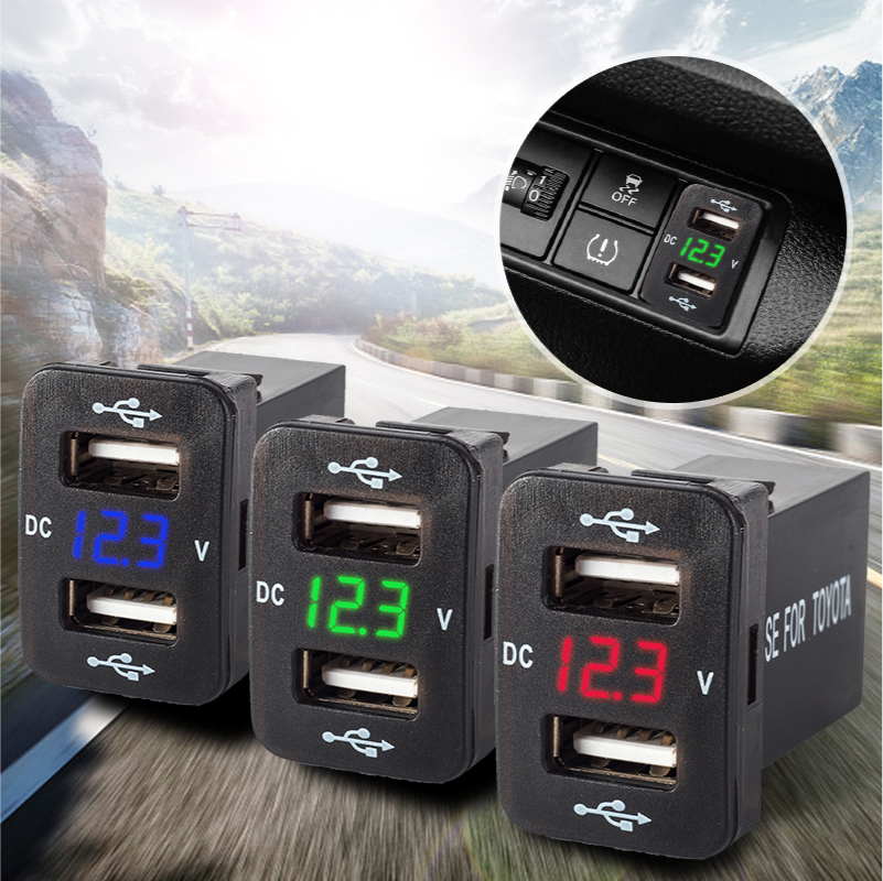 12V 24V Car Dual Usb Charger Quick Charge 4.2A Professional Auto Adapter Sockets Voltage Display For Toyota