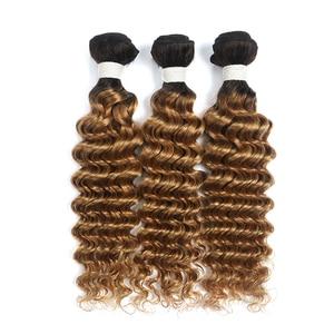Image 3 - Deep Wave Human Hair Bundles 8 26 Inch 1PC Ombre Blonde Brown Red Hair Weave Bundles SOKU Brazilian Non Remy Hair Extensions