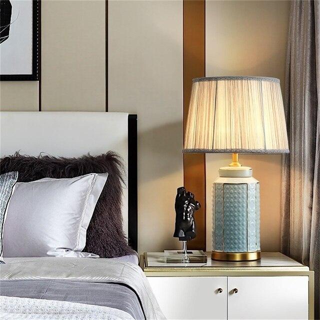 Фото латунные настольные лампы oufula керамический светильник для цена