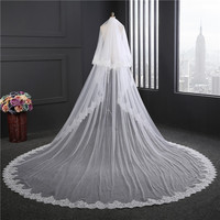 Eslieb Lace veil extra wide 3M long train new style double layer custom made white ivory color veil with comb HC005