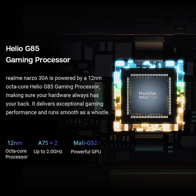 Versão global realme narzo 30a smartphone 4gb 64gb helio g85 6.5 fullfullfullscreen 13mp ai câmera dupla 6000mah 18w carga rápida 3