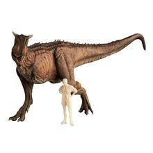 أحمر اللون 1:35 Nanmu ستوديو الحارس Carnotaurus الديناصورات الشكل الحيوان مع الإنسان الكلاسيكية اللعب للأولاد جمع المنقولة الفك
