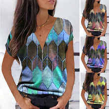 2021 Spring and Summer New Fashion Office Lady Plus Size Women's Geometric Print V-Neck Short-Sleeved Casual Pullover T-Shirt