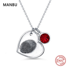 Personalized Fingerprint sterling silver Necklace with birthstone engraved Name Heart Pendant Necklace for women Valentines gift все цены