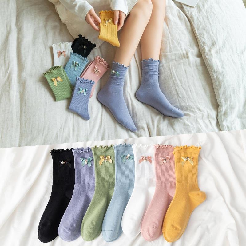 10 peças = 5 pares meias femininas ins moda cor sólida de madeira orelha algodão arco pérola doce-colorido meias femininas