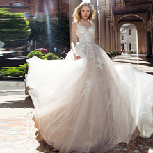 Verngo Aline Wedding Dress Appliques Tulle Gowns Champagne Elegant Bride 2020 Robe De Mariee