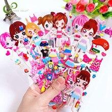 6 folhas dos desenhos animados vestir-se adesivos 3d adesivos crianças meninas meninos pvc adesivos bolha brinquedos para crianças gyh