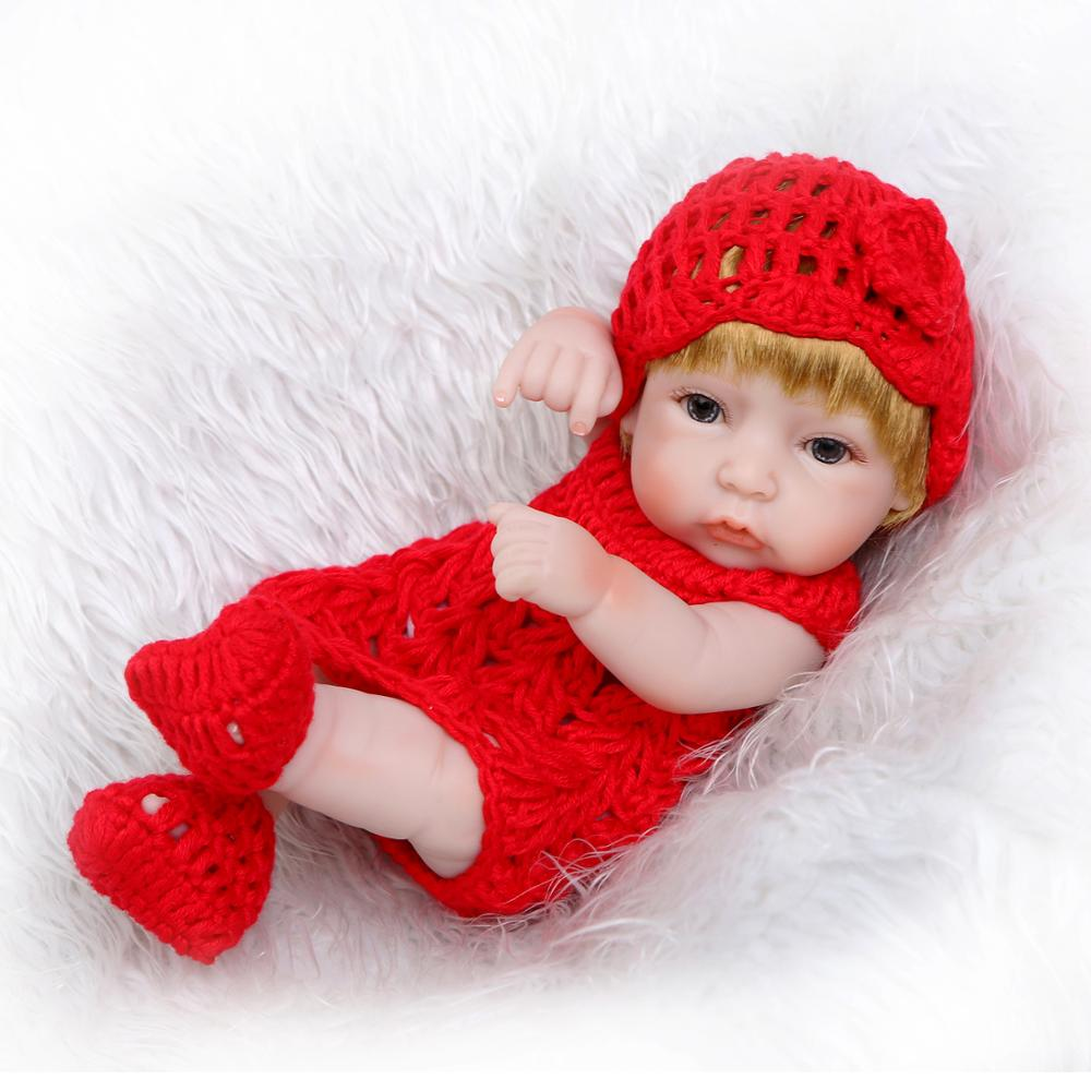 bebe reborn doll 26cm body com corpo de silicone reborn toddler baby dolls with Red soft clothes kids Real simulation doll toy