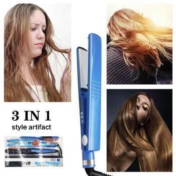 Professional Hair Straightener&Curler Irons Hair Styling Tools Nano Titanium Plates Professional Hair Straightener Curlers Set 5