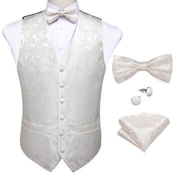 New Teal Green Paisley 100% Silk Formal Dress Vest Men Waistcoat Vest Wedding Party Vest Tie Brooch Pocket Square Set DiBanGu 7