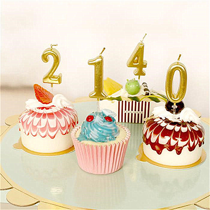 1 Pcs Gold Sliver Pink Birthday Number Candle 0 1 2 3 <font><b>4</b></font> 5 6 <font><b>7</b></font> 8 9 Cake Cupcake Topper Party Birthday Cake Candle Party Suppply image