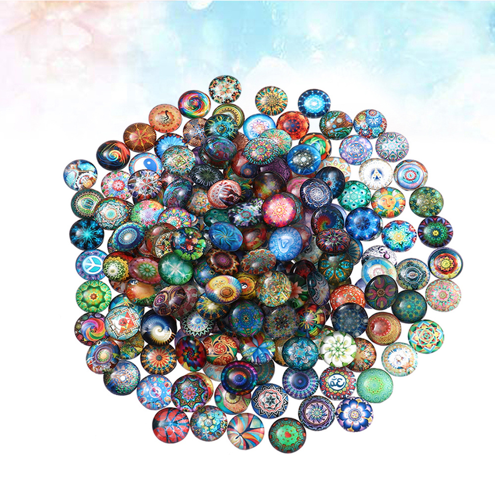 1 Set 50Pcs Mixed Round Mosaic Tiles for Crafts Glass Mosaic Supplies for Jewelry Making (Colorful 10MM)