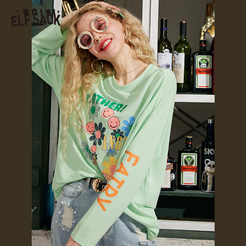ELFSACK Black Graphic Letter Print Casual Women T Shirts 2020 Spring New Green Colorblock Long Sleeve Korean Ladies Daily Top