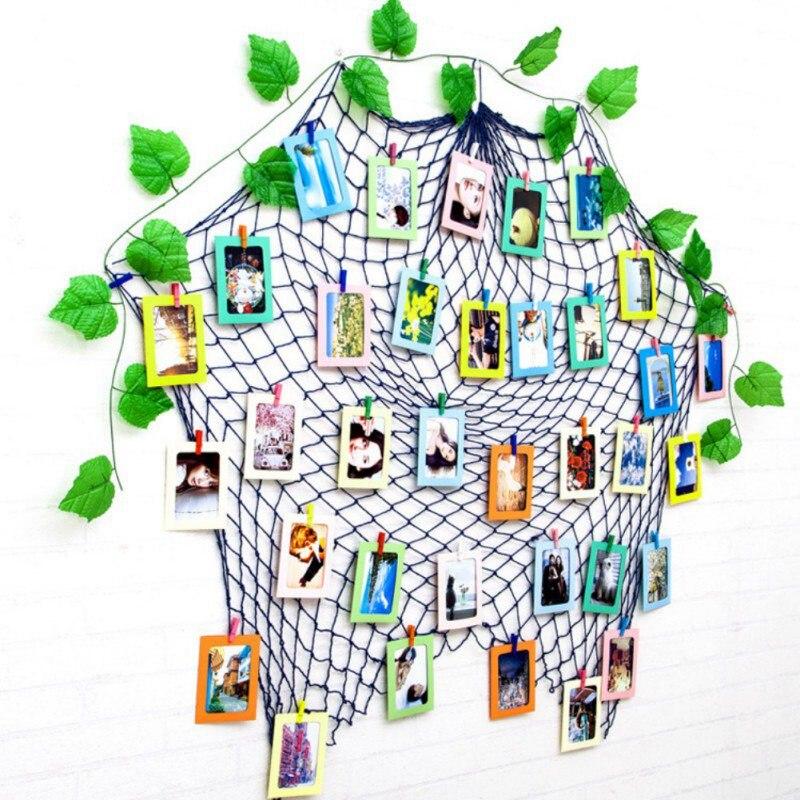 2018 Navidad Fishnet foto pared cuero Color mixto colgante papel foto marco dormitorio decoración de la pared de Navidad Envío Gratis: grande 200*250 Cm/79 * 99in negro 3D DIY Árbol de la foto PVC calcomanías de pared/adhesivos de la familia Mural arte decoración del hogar