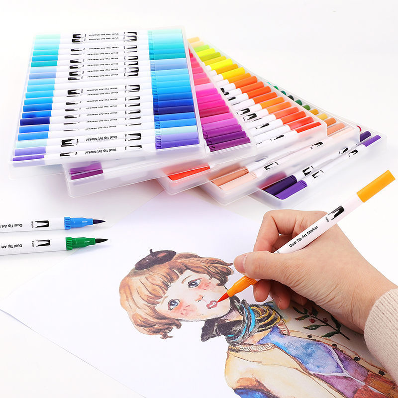 Double Head Watercolor Brush Pen Soft Head Sketch Marker 12 24 36 Color Calligraphy Cartoon Liner Beautiful Pen Painting Set