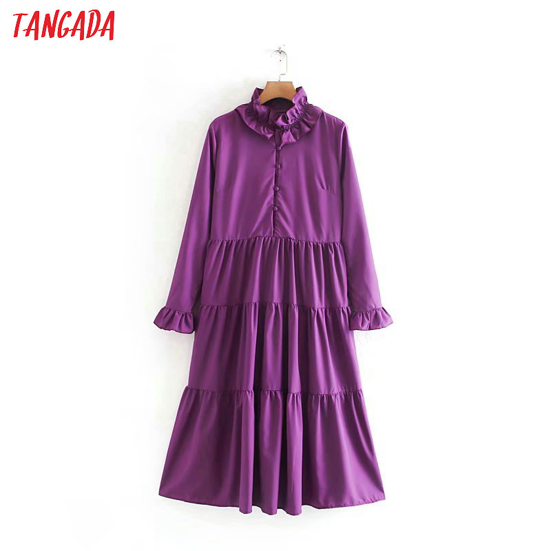 Tangada Women Elegant Purple Midi Dress Ruffles Neck Long Sleeve Lady Pleated Buttons Casual Midi Dresses Vestido XN401