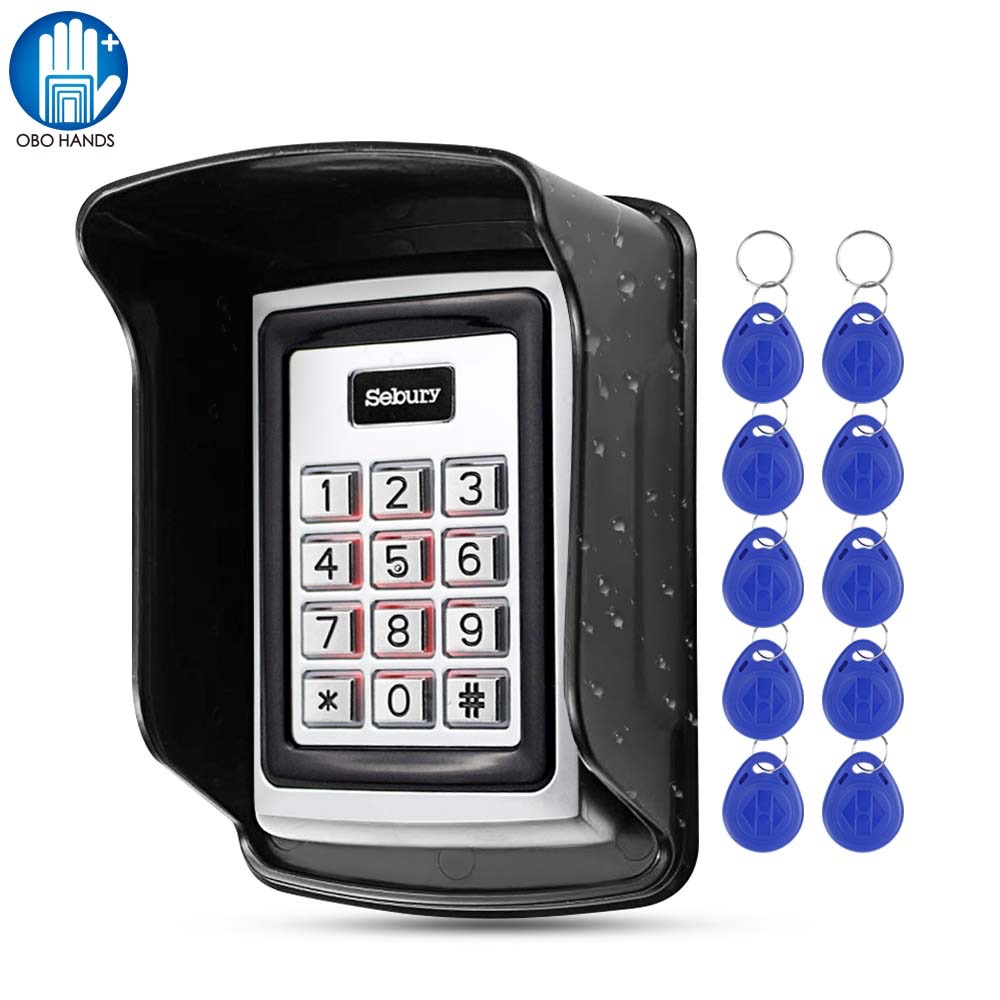 OBO Hands RFID Access Control Keypad Programming Controller Metal Waterproof Keyboard With 125KHz Keyfobs Tags For Door Lock Use