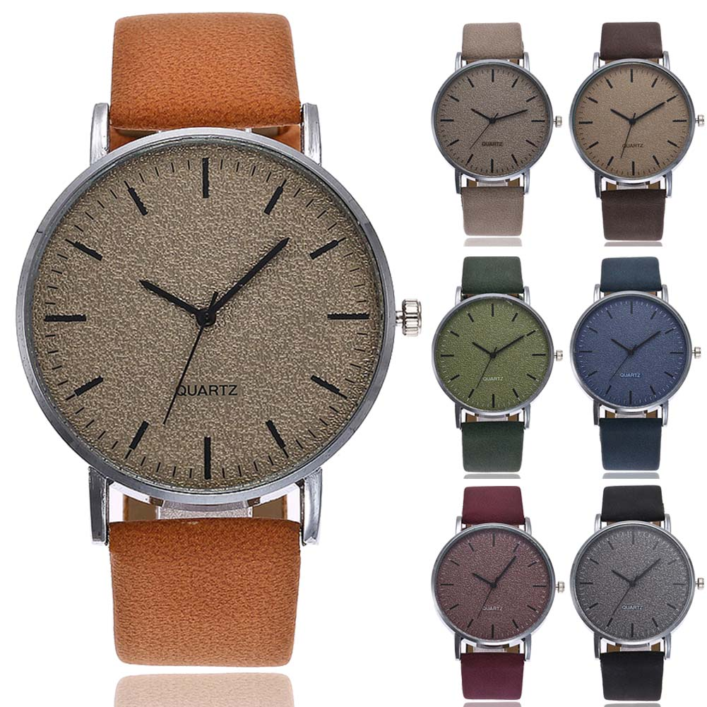 Hot VANSVAR Unisex Men Women Matte Dial Wristwatch Leather Band Quartz Wrist Watch  IE998
