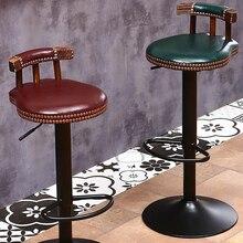 Rústico retro rotativa bar banqueta cafeteria cadeira com encosto restaurante café industrial criativo decoração da cozinha do agregado familiar