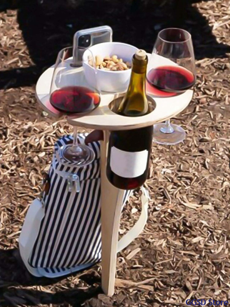 Foldable Wine Table with Round Desktop Outdoor Picnic Wine Glass Holder for Camping and Dining Removable Wooden Wine Rack Table