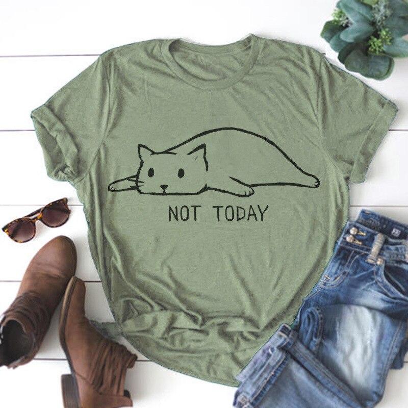Plus Size S-5XL New Lovely Cat Letter Print   T     Shirt   Women 100% Cotton O Neck Short Sleeve Summer   T  -  Shirt   Tops Casual   T     Shirts